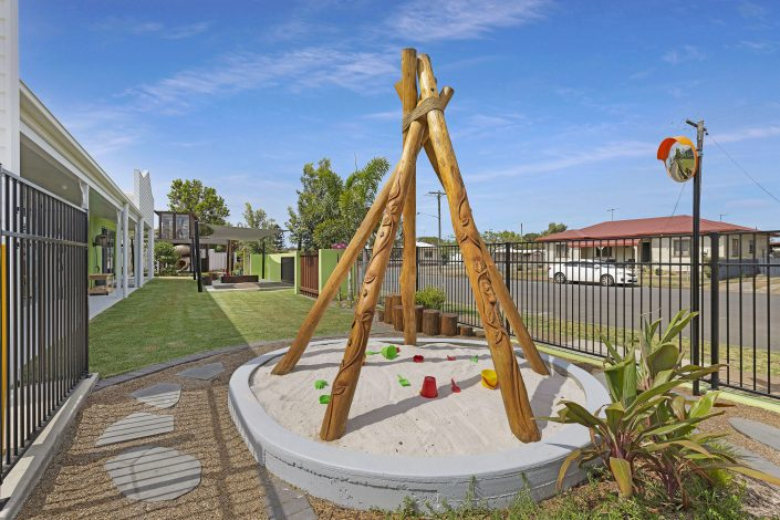 Natural equipment at Bundaberg childcare centre